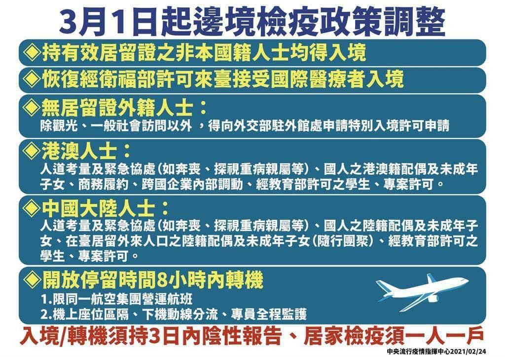 3/1 起台灣邊境檢疫政策