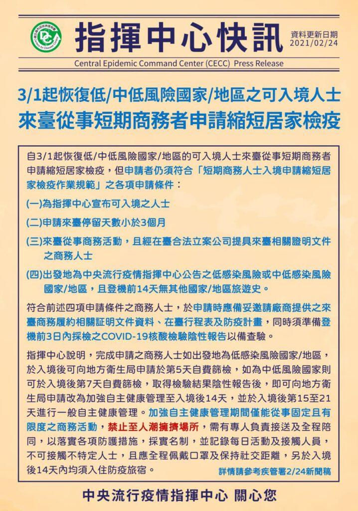 3/1 起,開放外籍人士來台從事短期商務