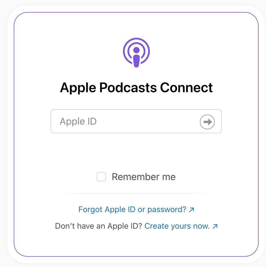 Apple Podcast Connect 登入畫面